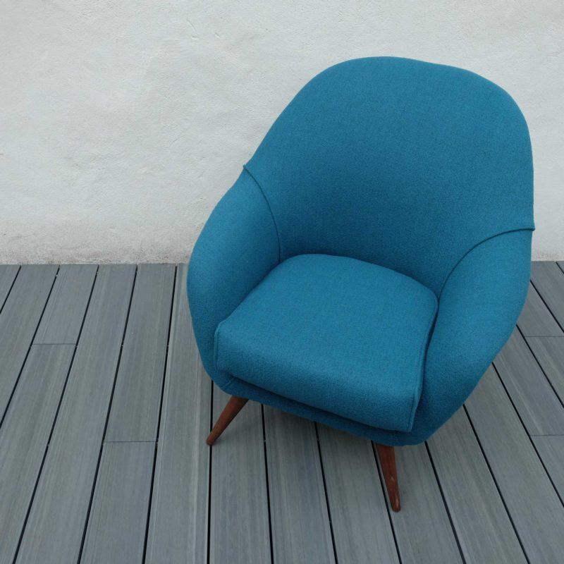 Large East German Club Chair in Teal Wool