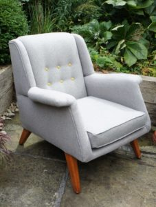 G Plan Armchair in grey wool with mustard buttons