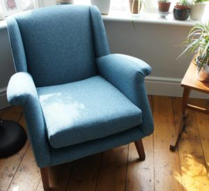 Gplan Armchair reupholstered In teal Tweed