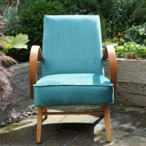 Halabala chair reupholstered in sea green velvet, arms refinished with wax finish