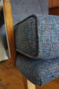 Vintage G Plan, E Gomme large armchair in blue tweed fabric - detail