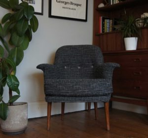 Vintage small chair generic, reupholstered in grey and black fabric