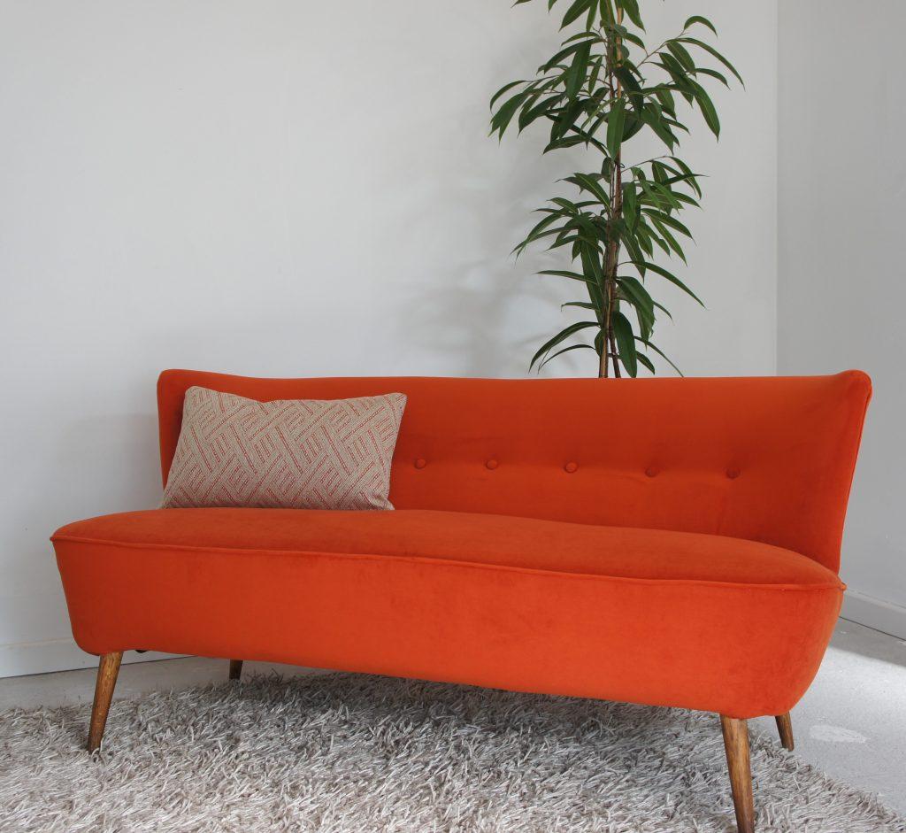 1960's sofa in Orange velvet